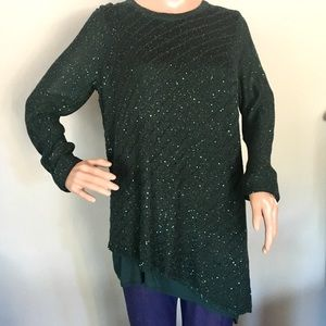 w/TAG Asymmetrical Sequins Lined TOP Sweater GREEN